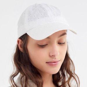 UO Eyelet Bow Baseball Hat Women's White OS NWT